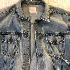 american eagle distressed oversized denim jacket